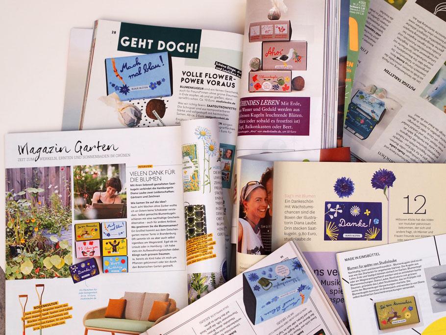 Zeitungen, Presse, Studiolaube in der Zeitung, Magazin, Diana Laube, Illustriertes Verpackungsdesign