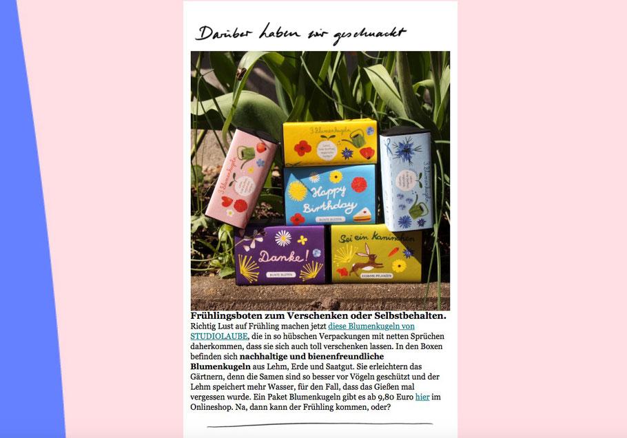 Blumenkugeln, Seedbomb, Ohhhmhhh, Newsletter