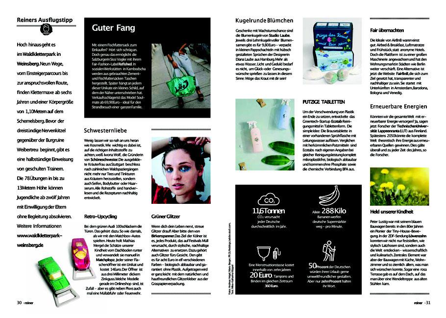 STUDIOLAUBE, Presse, Blumenkugeln in der Zeitung, Übersicht nachhaltige Produkte
