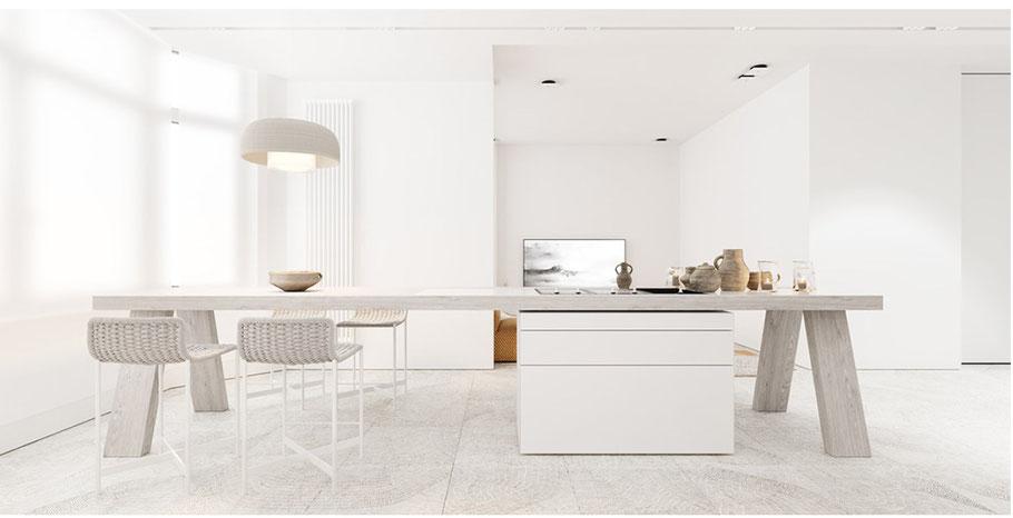 Minimalistisch eingerichtete Küche. Auf diesem Bild siehst Du eine moderne und minimalistisch eingerichtete Küche. So kann es auch bei Dir zu Hause aussehen. Nur die liebsten und wichtigsten Dinge stehe alle am richtigen Ort.