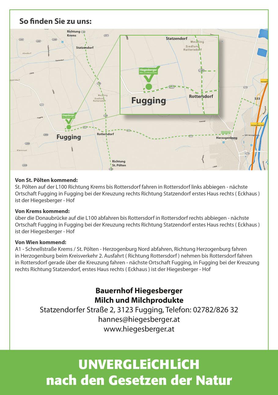 Anfahrtsplan Hiegesberger Milch und Milchprodukte