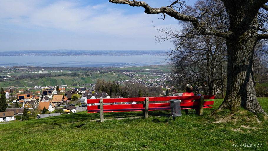 Aussichtspunkt mit langer roter Bank mit Blick auf den Bodensee
