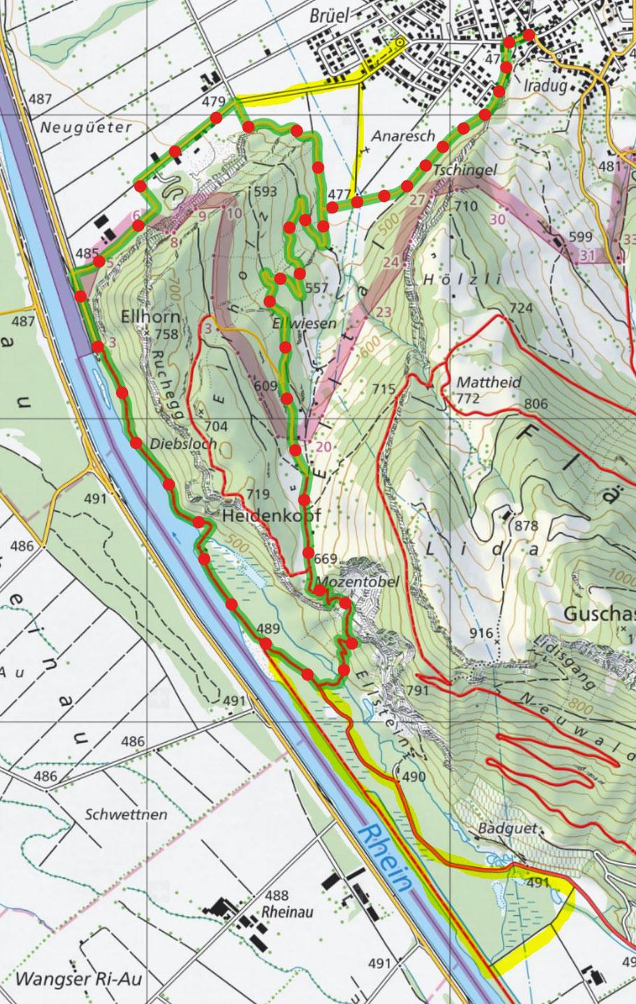 Karte von map.schweizmobil.ch mit Ergänzungen