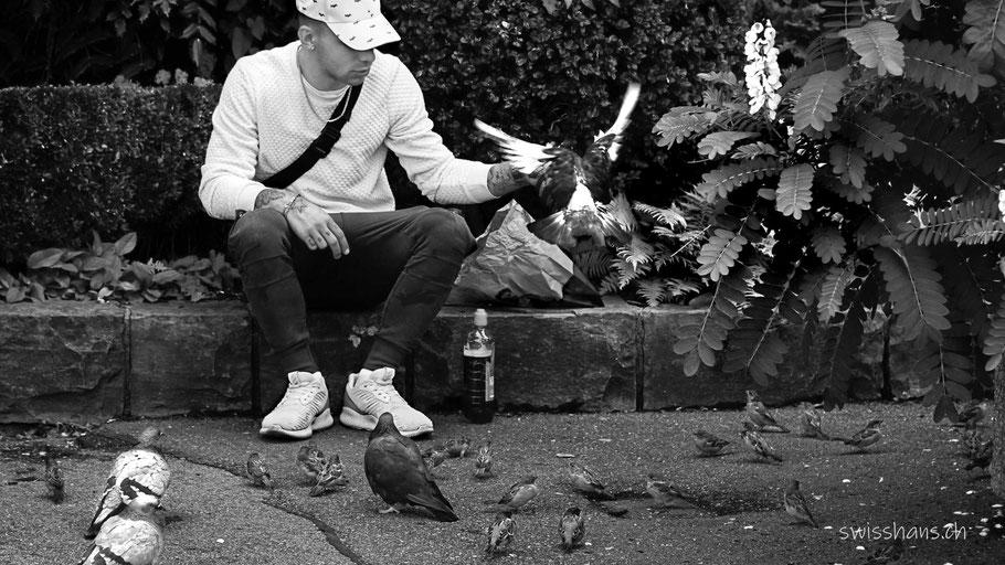 Mann sitzt auf einer Mauer und füttert die Vögel