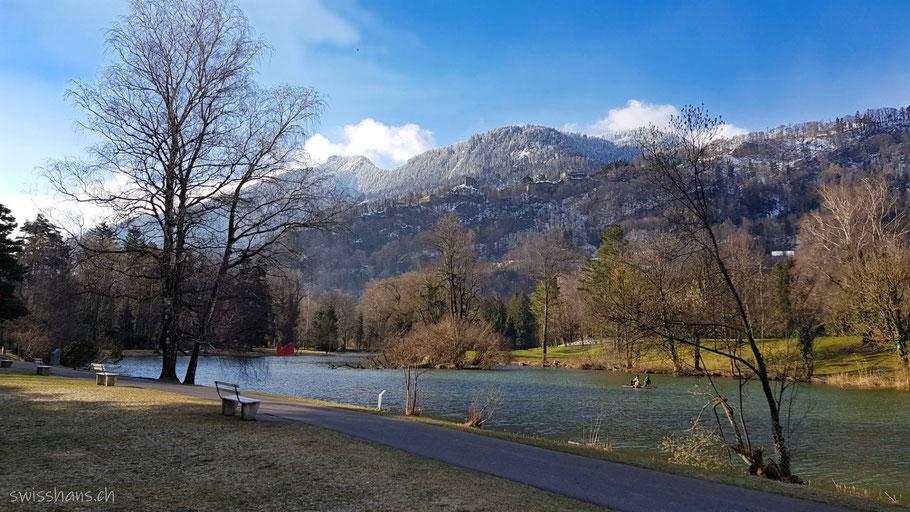 Giessenparksee im Giessenpark von Bad Ragaz mit Blick auf die verschneiten Berge