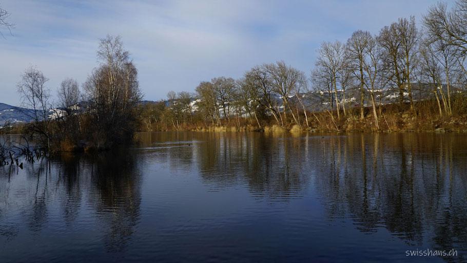 See mit Bäumen die sich im Wasser spiegeln