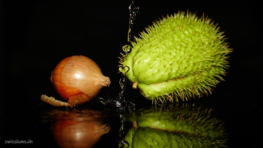 Chayote und Zwiebel unter dem Wasserstrahl mit Spiegelung