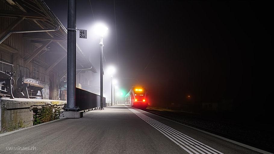 Nachtaufnahme Bahnhof Rebstein-Marbach mit eingefahrenem Zug