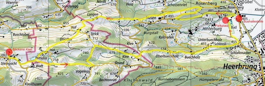 Karte von map.geo.admin.ch mit Wandervorschlag