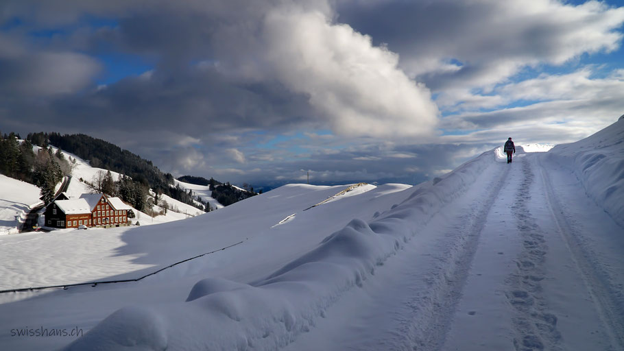 Winterlandschaft bei der Landmark. Spuren führen in Richtung des Himmels mit weissen Wolken