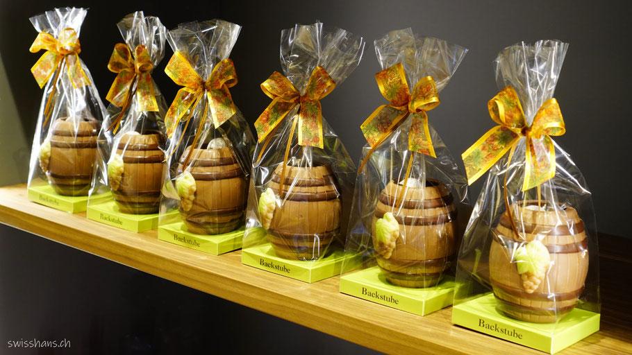 Weinfässli aus Schokolade von der Backstube Widnau