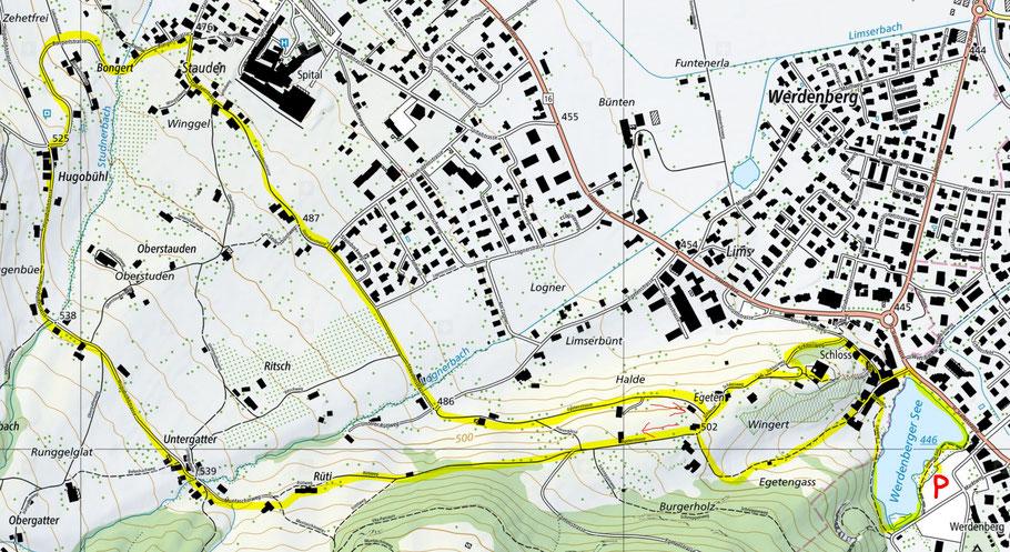 Wegbeschreibung der Wanderung rund um das Schloss Werdenberg
