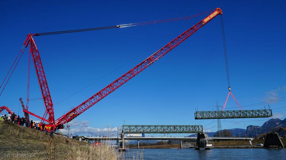 Der 1000-Tonnen Schwerlastkran hebt eine Stahlelement der alten Dienstbahnbrücke über dem Rhein ab.