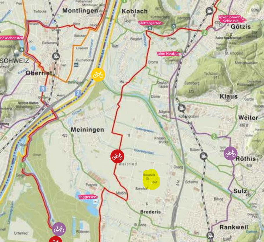 Quelle: Velotal-Rheintal   Der Golfpark ist gelb markiert.