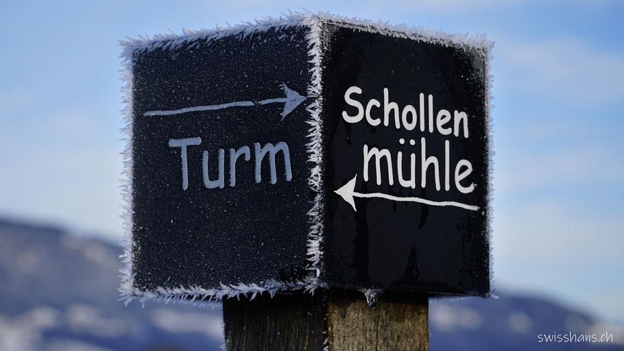 Wegweiser zur Schollenmühle Altstätten