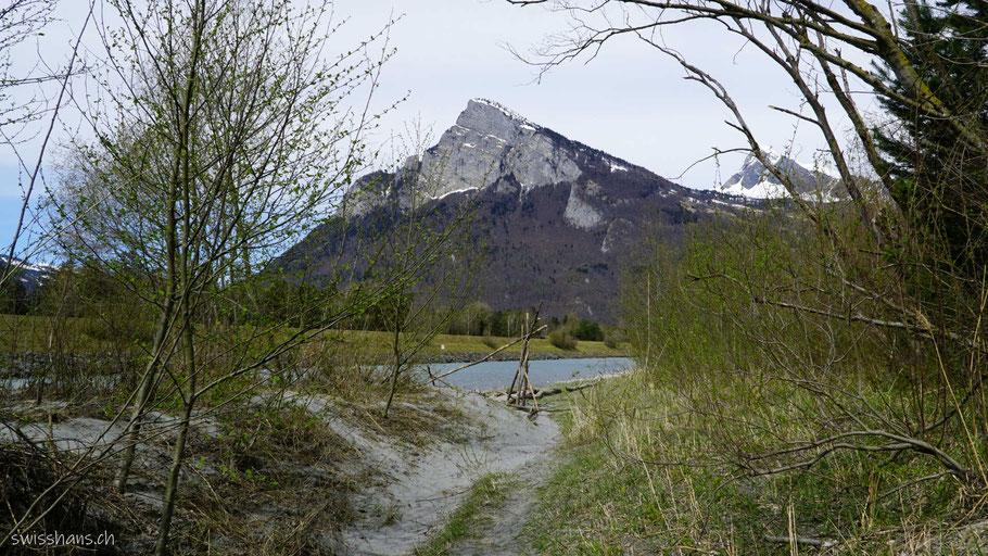 Der Berg Gonzen bei Bad Ragaz mit Rhein