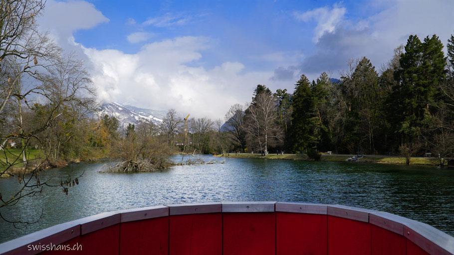 Giessenparksee im Giessenpark von Bad Ragaz von der Aussichtsplattform aus.