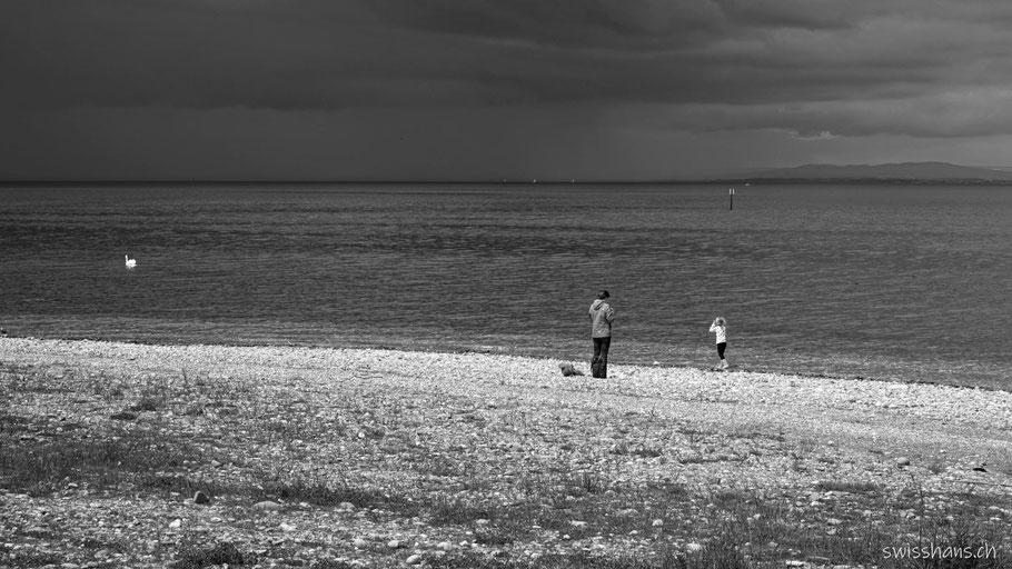 Mutter und Kind mit Schwan am Bodensee