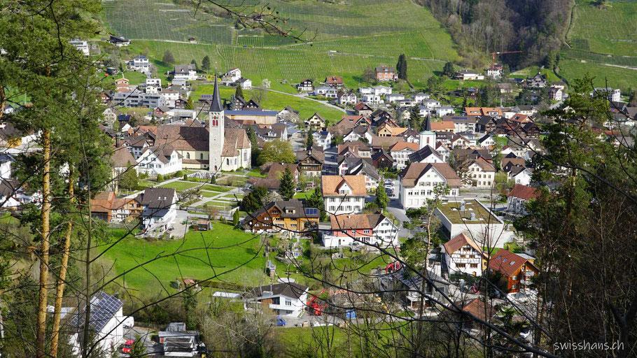 Aussicht vom Rosenberg auf die Gemeinde Berneck im Rheintal