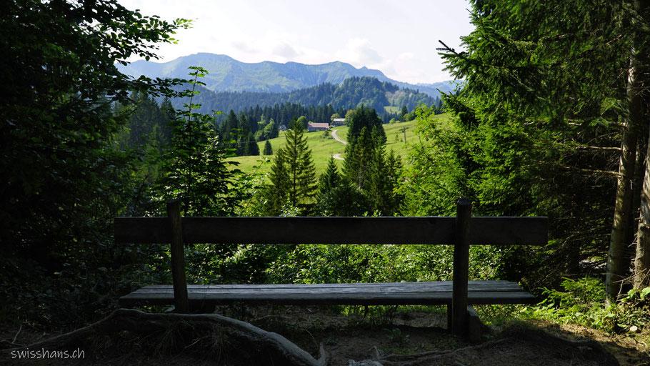 Sitzbank in der Landschaft beim Bödele