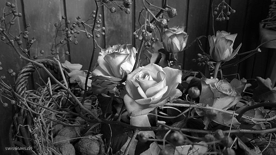 Rosen in einem Gesteck im Weidenkorb beim Gasthaus Pfänderdohle am Pfänder bei Bregenz