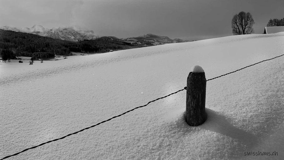 Holzpfosten mit Draht im Schnee