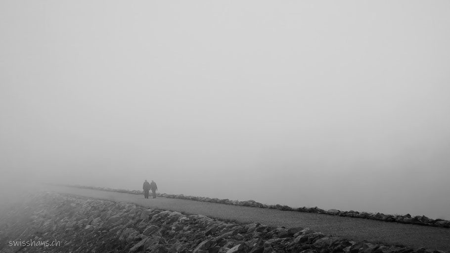 Zwei Personen auf einem Weg in dickem Nebel