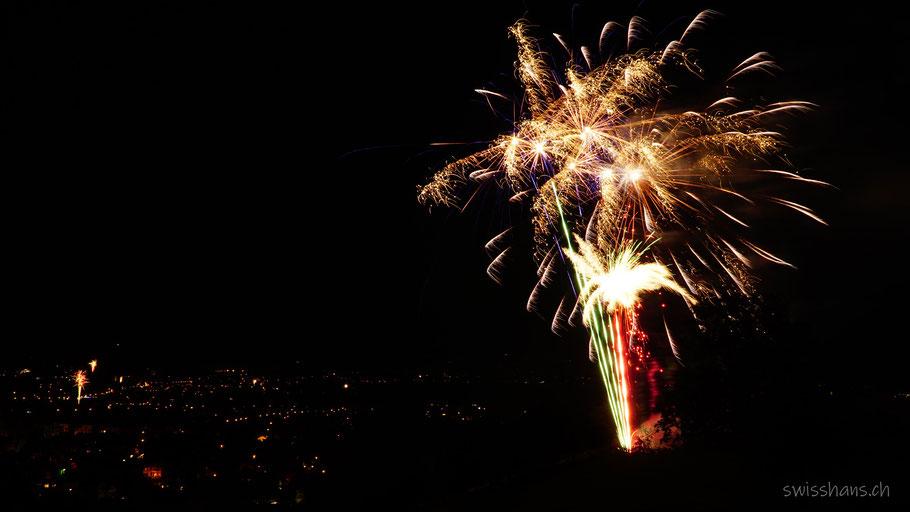 Feuerwerk mit Lichtern des Rheintals