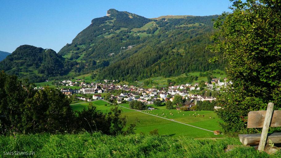 Wanderweg mit Blick auf die grünen Wiesen rund um das Dorf Azmoos vor dem Berg Gonzen.