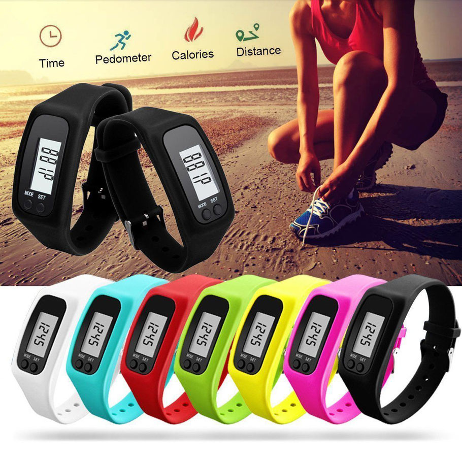 El reloj pulsera podómetro digital unisex cuenta los pasos, la distancia recorrida a pie y las calorías