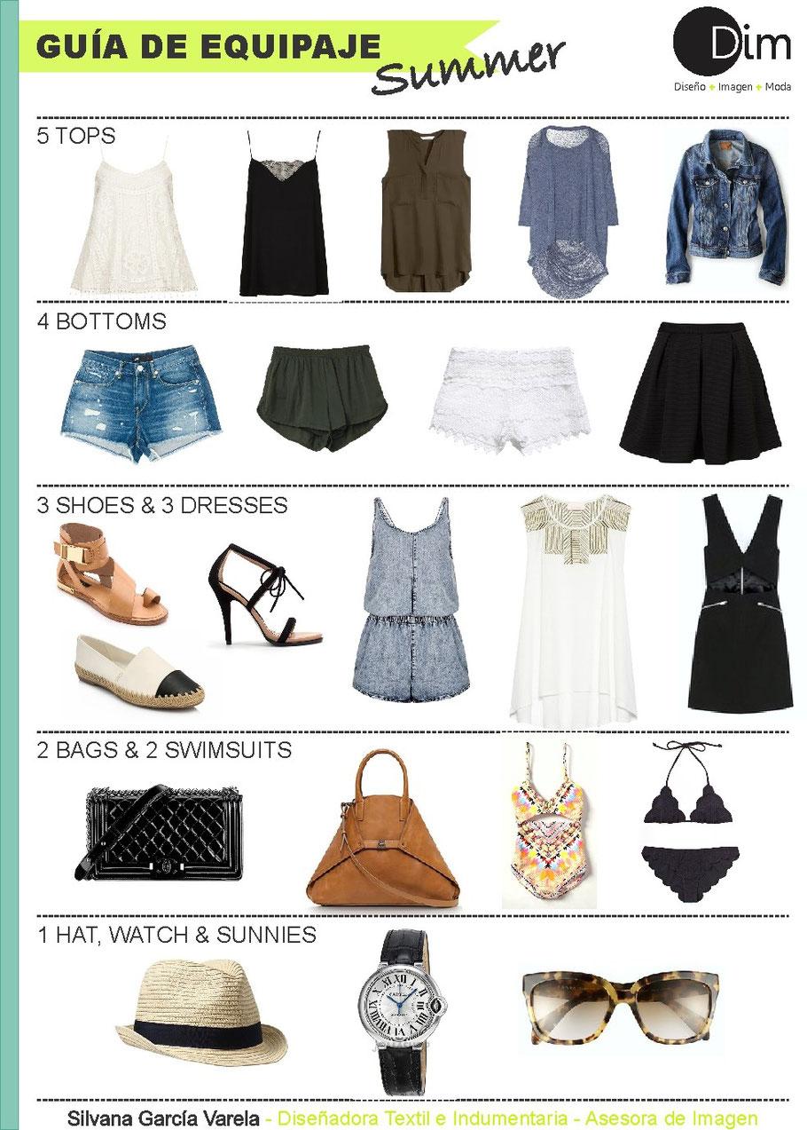 Si te vas de vacaciones en Julio a la playa, te dejamos guía de guardarropas para que puedas optimizar tus outfits y la cantidad de prendas que llevas en tu maleta!  Una propuesta multinacional, adaptable a diferentes actividades y básica, para que puedas
