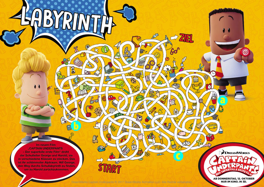 Captain Underpants Film Gewinnspiel Labyrinth - 20th Century Fox - kulturmaterial