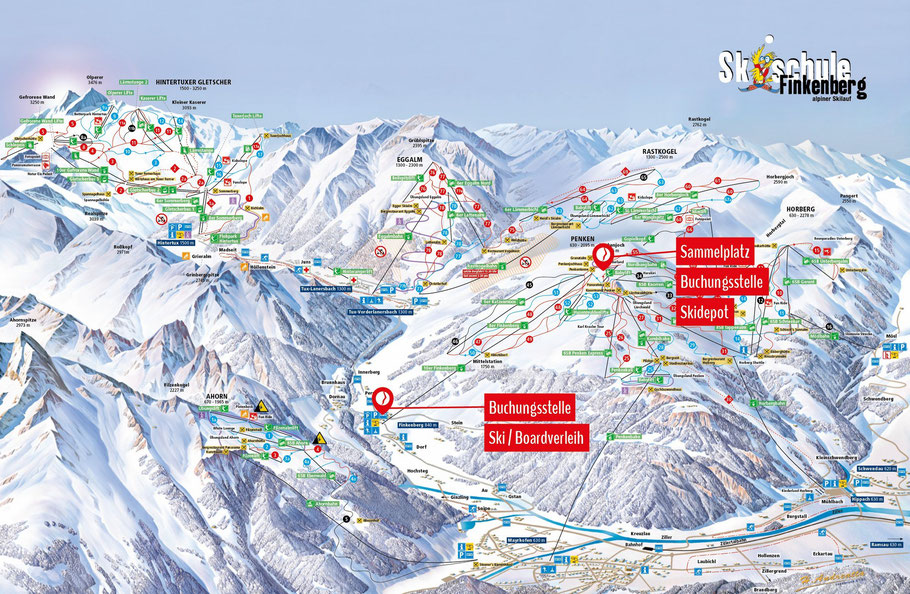 Standort - Lageplan - Skischule Finkenberg