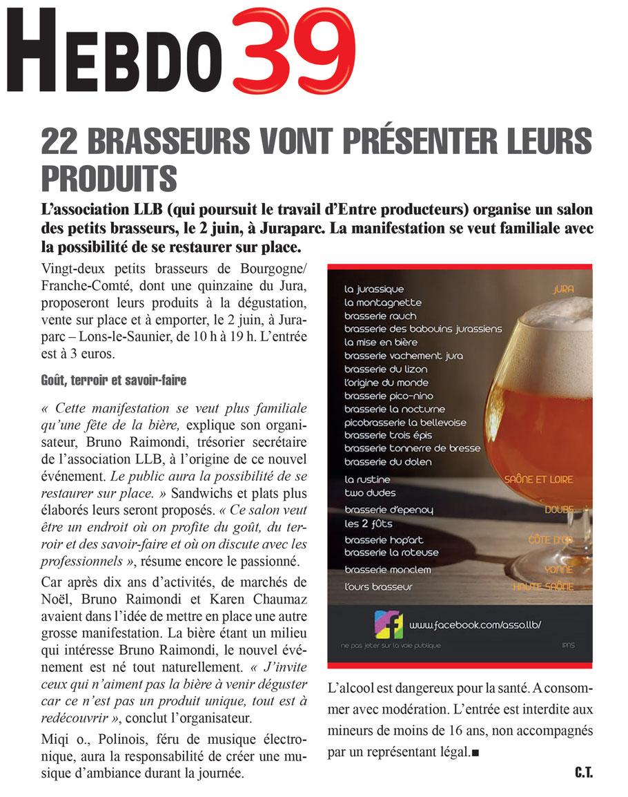 association llb - association de producteurs - salon des petits brasseurs de lons le saunier - bière artisanale - hebdo 39
