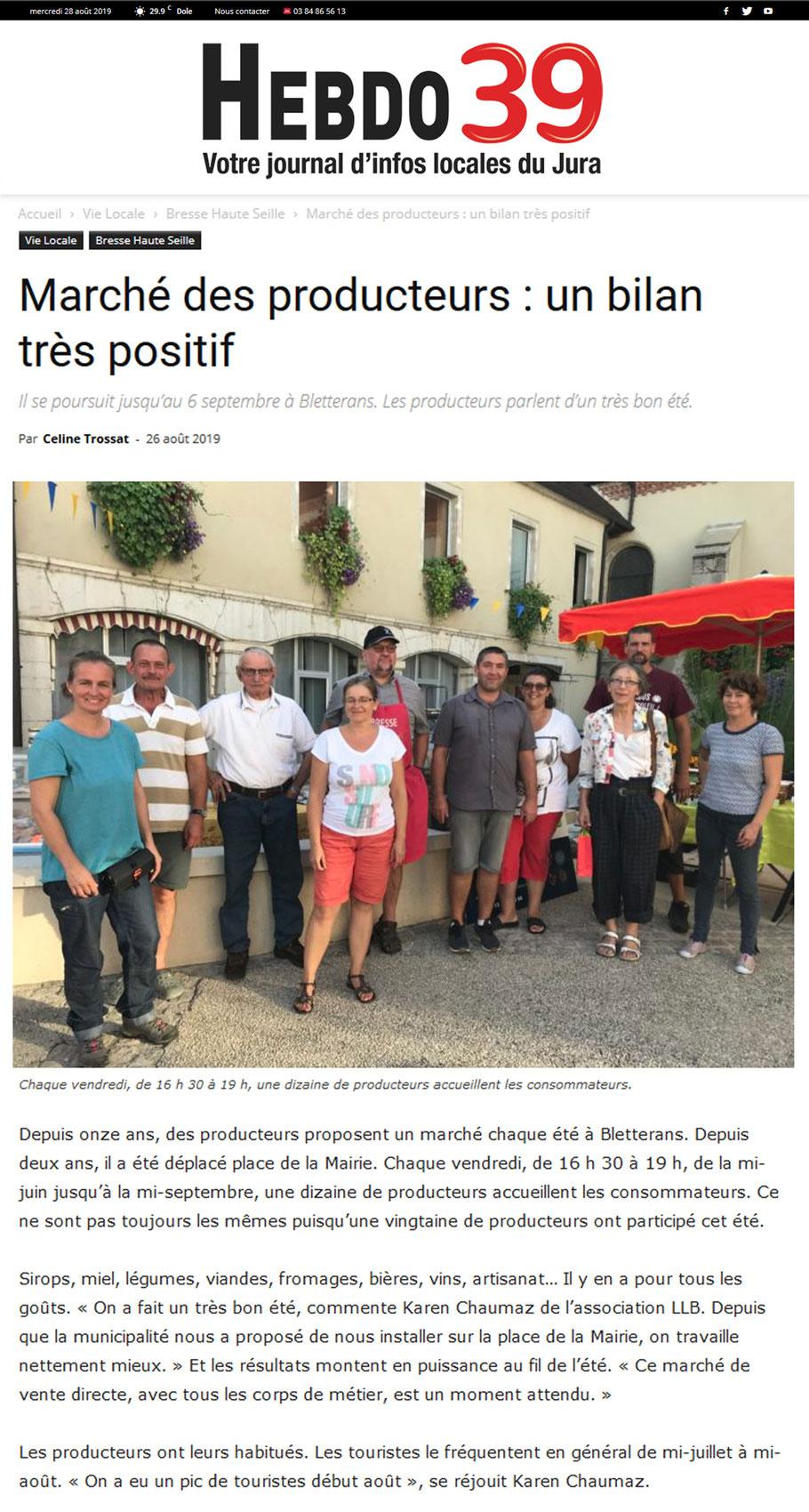 marché de producteurs - Bletterans - Jura - association llb - hebdo 39