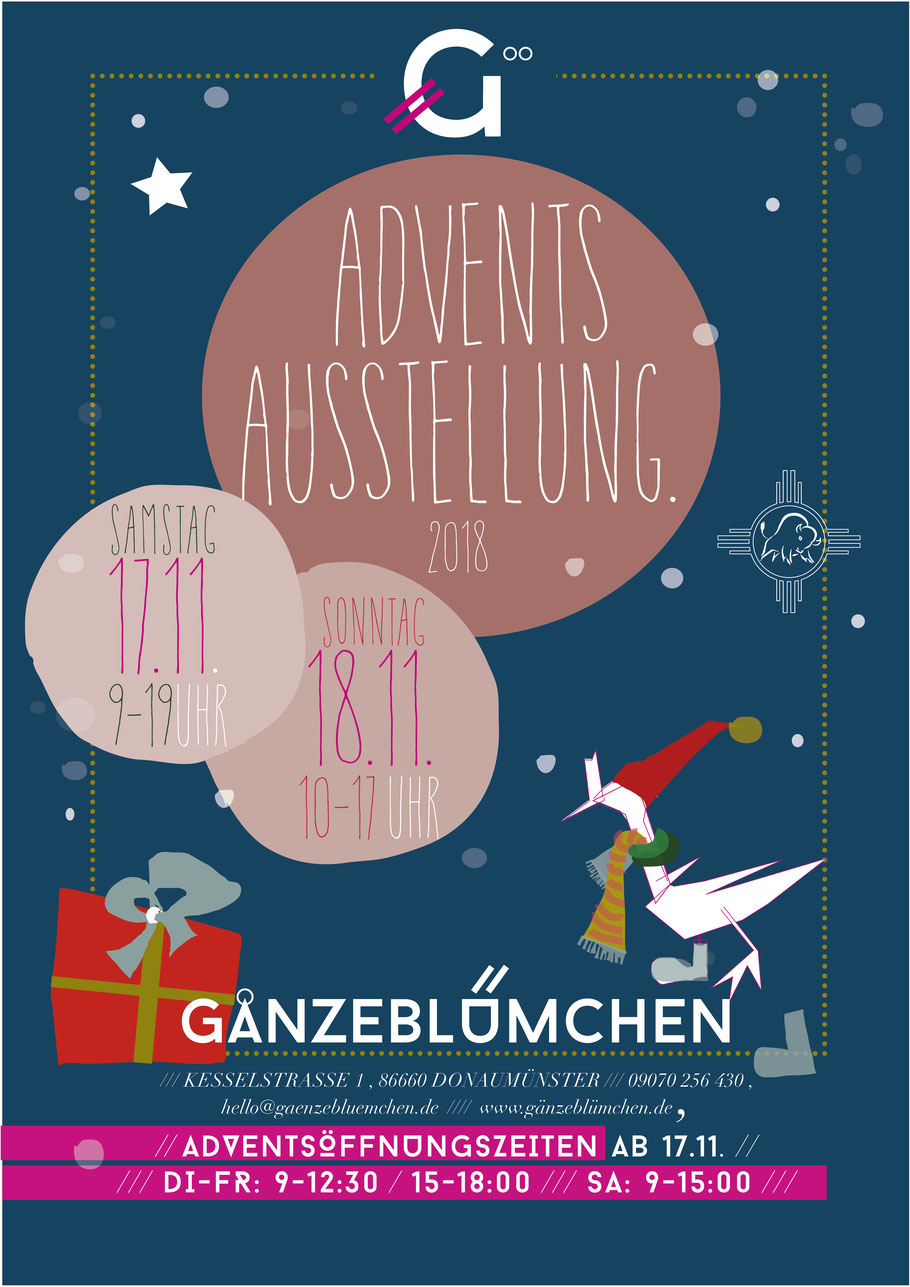 Einladungsplakat zu GÄNZEBLÜMCHENs stimmungsvoller ADVENTS-AUSSTELLUNG 2018, illustriert mit den WINTER-GÄNSEN von Barbara Erre