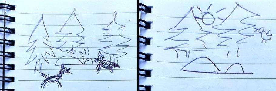 Originalskizzen aus meinem Mut-Wochenende-Tagebuch