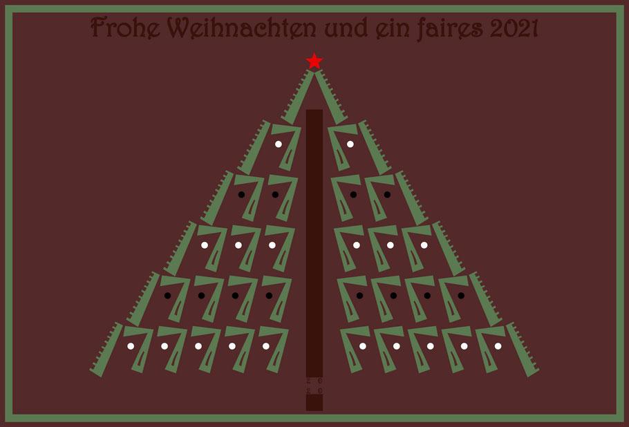 Dieses Bild von Thorsten Hülsberg zeigt einen Weihnachtsbaum mit dem roten Stern aus dem FAIRschreiben-Logo, den Kugeln in den Logofarben  und faire Festtagsgrüße.
