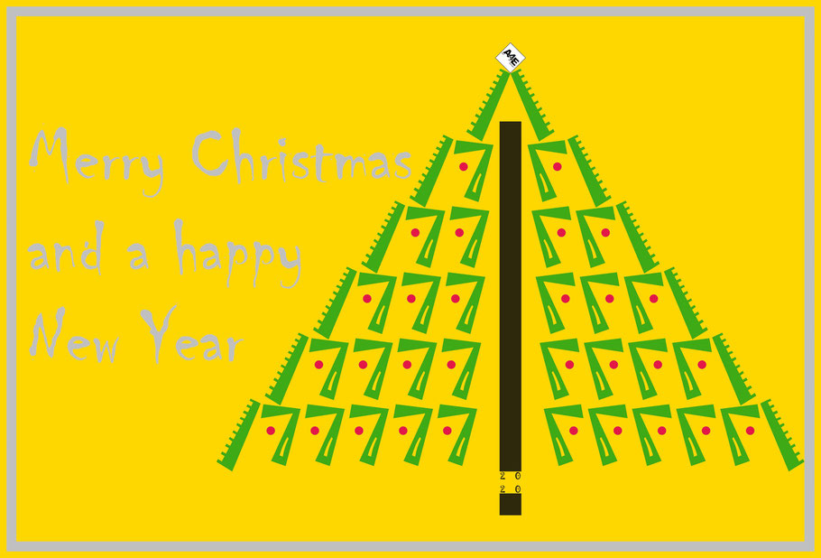 Dieses Bild von Thorsten Hülsberg zeigt einen Weihnachtsbaum mit dem Logo von Art for Europe (A4E) und den Festtagsgrüßen.