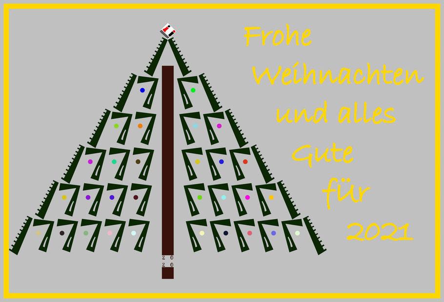 Dieses Bild von Thorsten Hülsberg zeigt einen Weihnachtsbaum mit Ü-Logo und Feiertagsgrüßen.