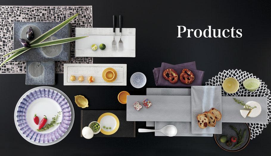 あらゆるシチュエーションに合わせた食器を提案いたします。陶磁器、ガラス、漆器、木製品、金属製品など、飲食店ホテル様向けの器の新しい演出を提案いたします。
