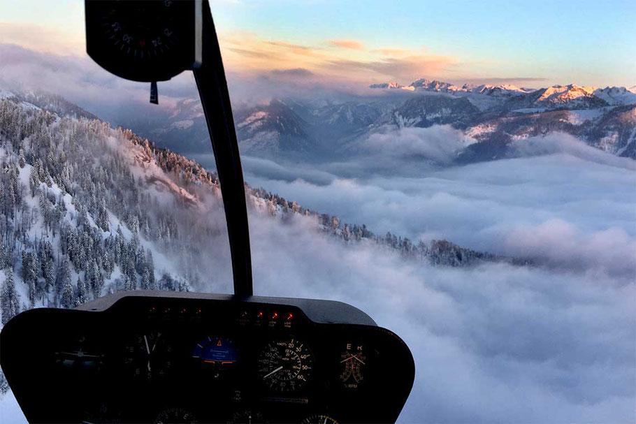 Sonnenuntergang Alpenrundflug