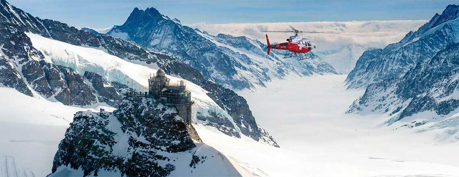 swiss helicopter Jungfraujoch top of europe