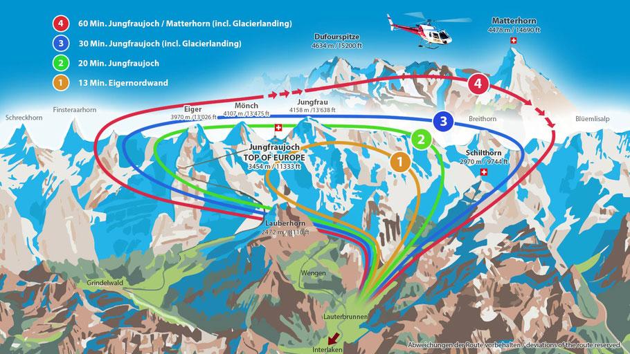 Rundflugkarte ab Lauterbrunnen (Jungfraujoch und Matterhorn)