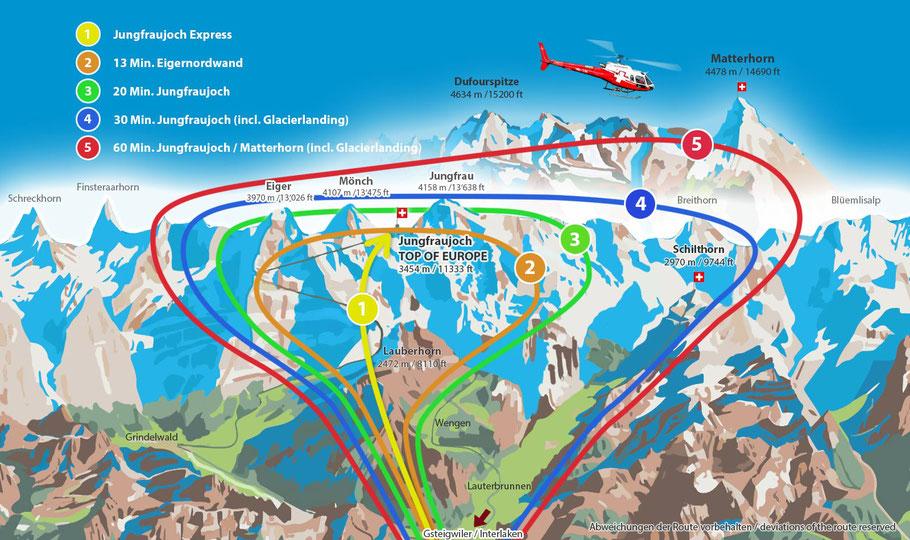 Rundflugkarte ab Gsteigwiler (Jungfraujoch und Matterhorn)
