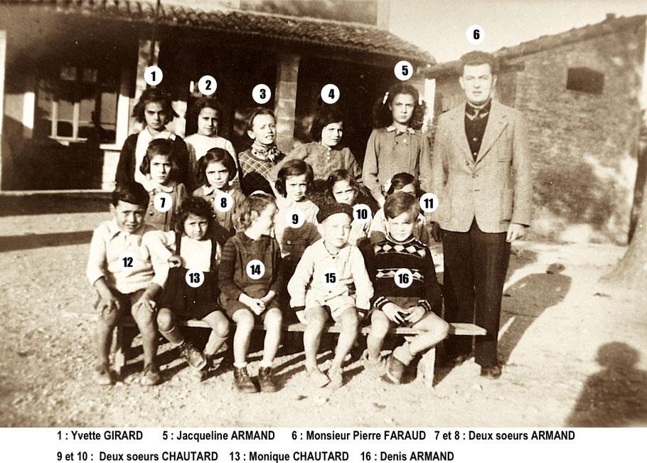 la classe de M. Pierre FARAUD vers 1950 (Archives P. Faraud)