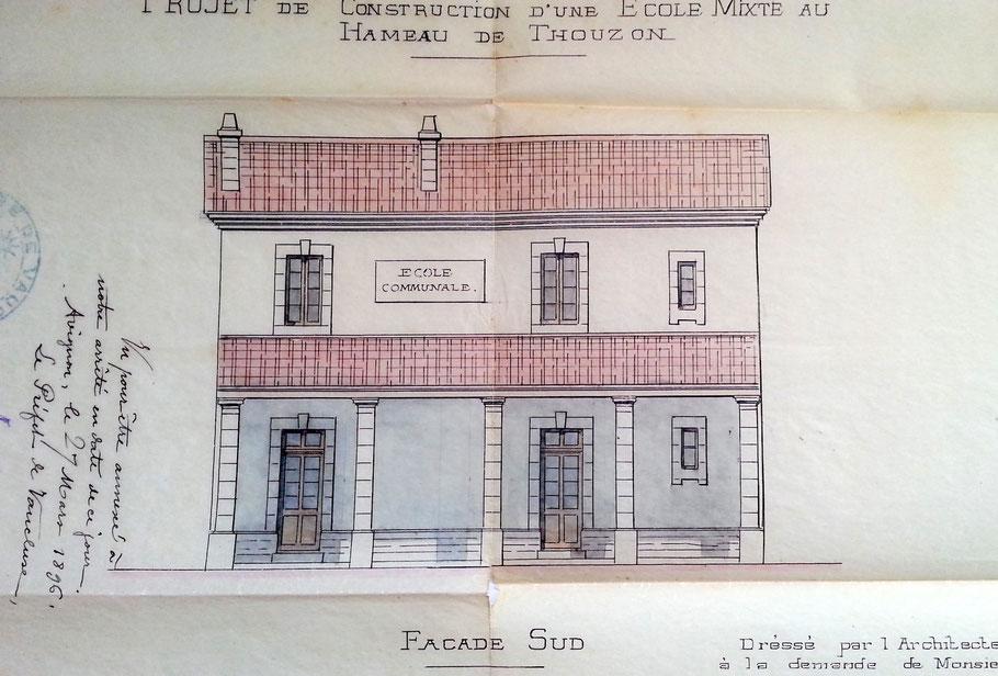 (Archives municipales Le Thor - Le projet retenu date de 1896)