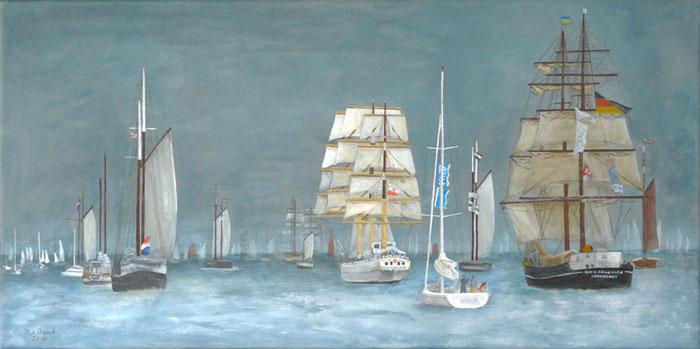 Schiffe, Segeln, Windjammerparade, Acryl, Leinwand, Malerei, Kiel, Kieler Woche