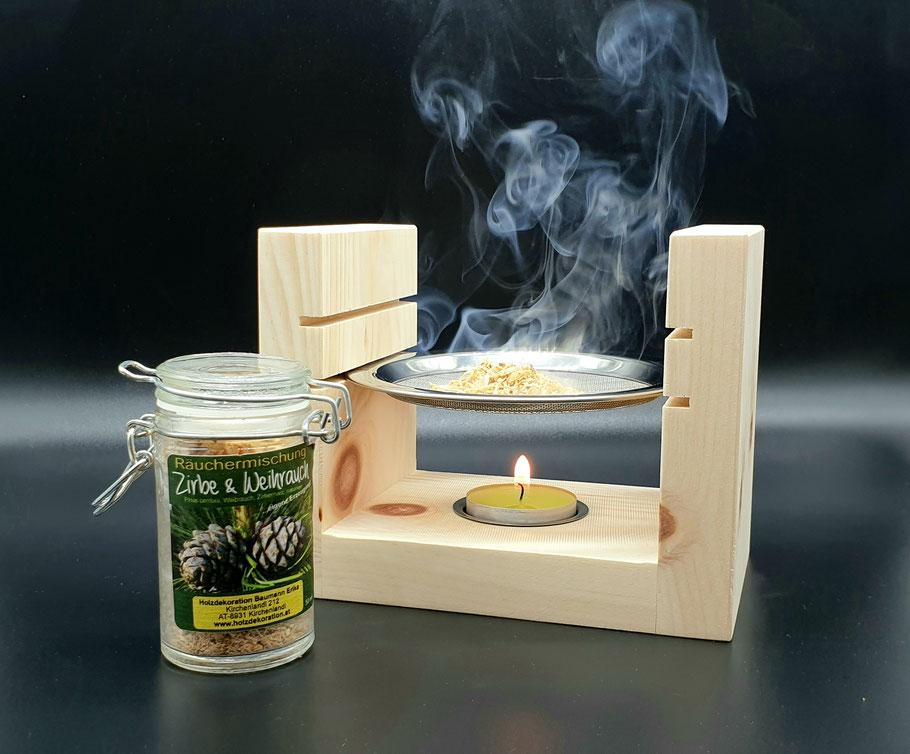 Räuchergefäß, Räucherstövchen, Duftlampe Zirben Holz Räucherwerk