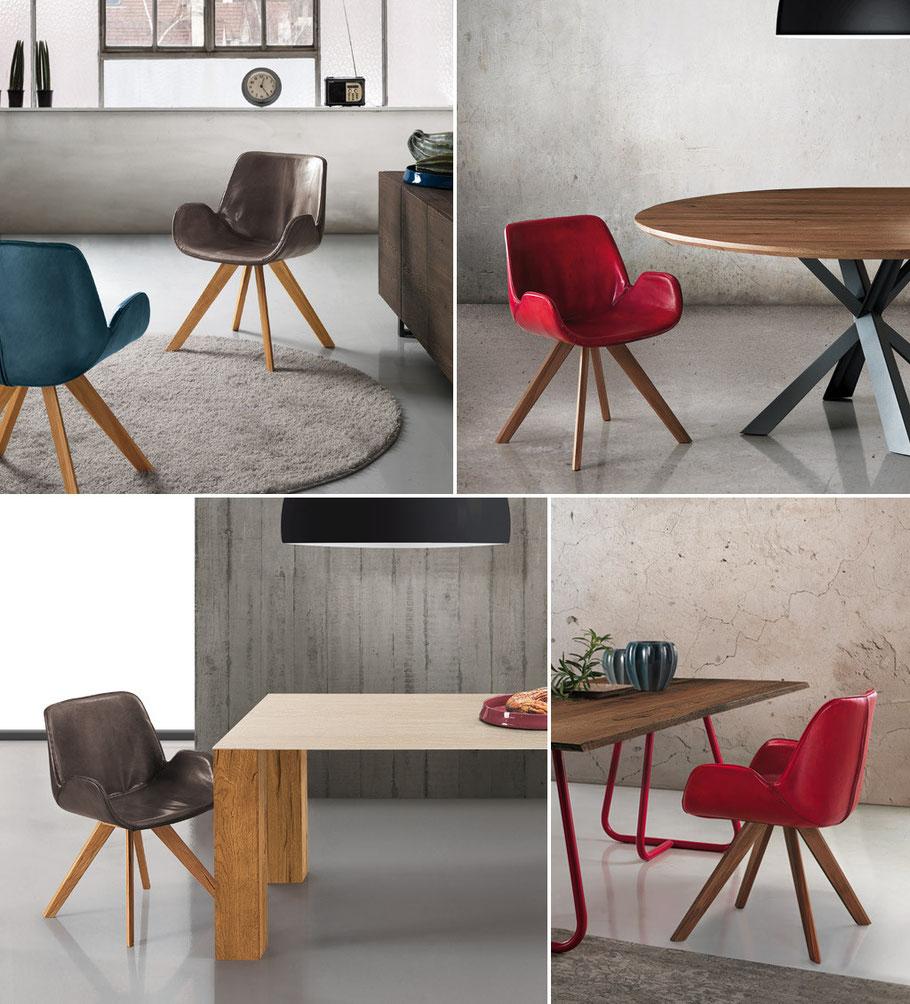 Holztisch, Oliver B, Italien, direkt bestellen, Lederstuhl, Essstuhl